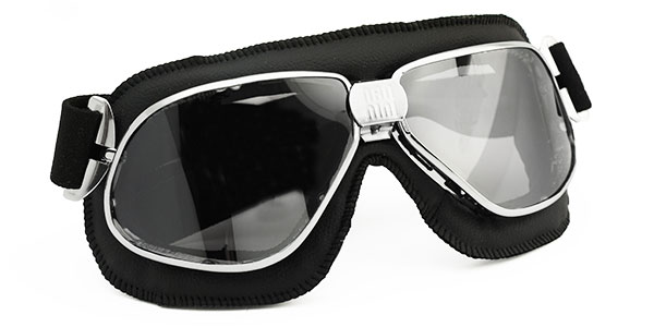 Nannini Biker 4V in black and chrome with silver mirror lenses