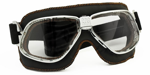 Nannini Cruiser 4V in chrome with black leather and orange stitching. Grey lenses.