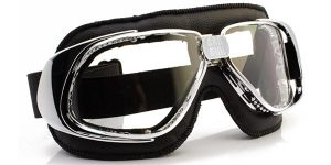 Rider in black and chrome with clear lenses