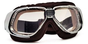 Rider in brown and chrome with clear lenses