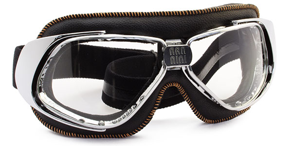 Nannini Rider 4V 1173 Chrome with black leather and orange stitching and clear lenses